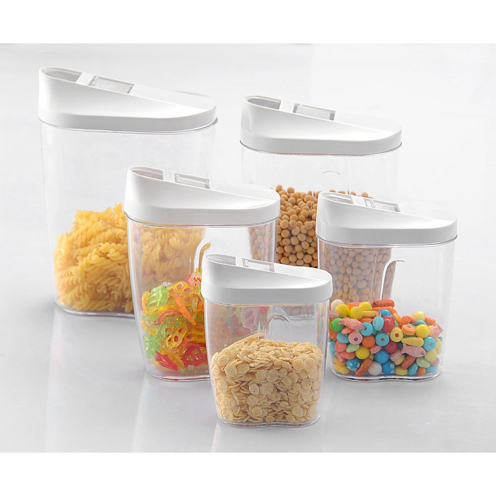OFKP Set of 5 Pcs Different Size Locking Clear Acrylic Plastic Food Storage Jars Canister Ideal for Sugar, Tea, Coffee, Rice, Pasta etc