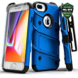 Zizo Bolt 系列兼容 iPhone 8 Plus 手机壳*级跌落测试钢化玻璃屏幕保护膜 iPhone 7 Plus 手机壳1BOLT-IPH7PLUS-BLBK 蓝色/黑色
