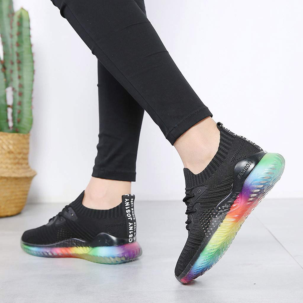 Women's Breathable Casual Sneakers Trend Woven Rainbow Jelly Soles Outdoor Sport Running Slip-on Shoes by Dacawin_Women Sport Shoes (Image #5)
