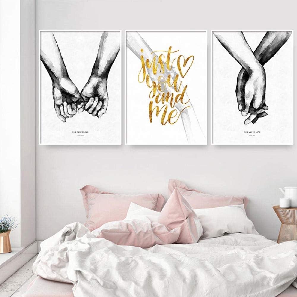 NOBRAND Cuadros Tomados de la Mano Amor Lienzo Pintura Minimalista Blanco Negro Carteles e Impresiones Cuadros Abstractos para Pareja Decoración de dormitorio-40x50cmx3p Sin Marco
