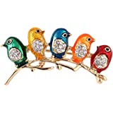 Comelyjewel Colorful Little Birds Brooch Pins Alloy & Crystal Brooch Jewelry Gifts Useful and Practical