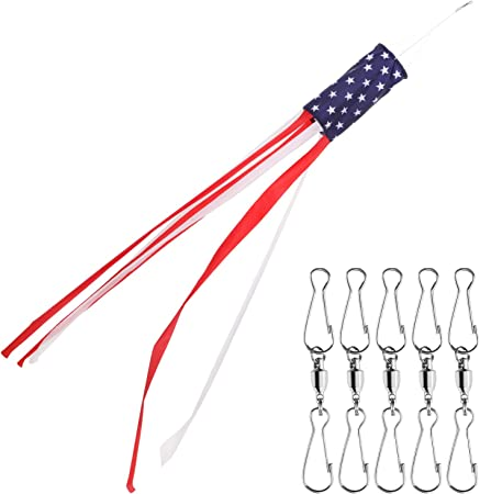 Boao 60 Inch American Flag Windsock Stars and Stripes Windsock with 5 Pieces Dual Swivel Clips Patriotic Hanging Decorations Color 2