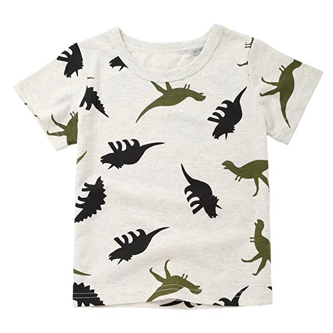 Toddler Children Fashion Cartoon Dinosaur Print Short Sleeve T-Shirt Tops Outfits Blouse Clothes for 1-6 Years Old Wanshop Boys Tops