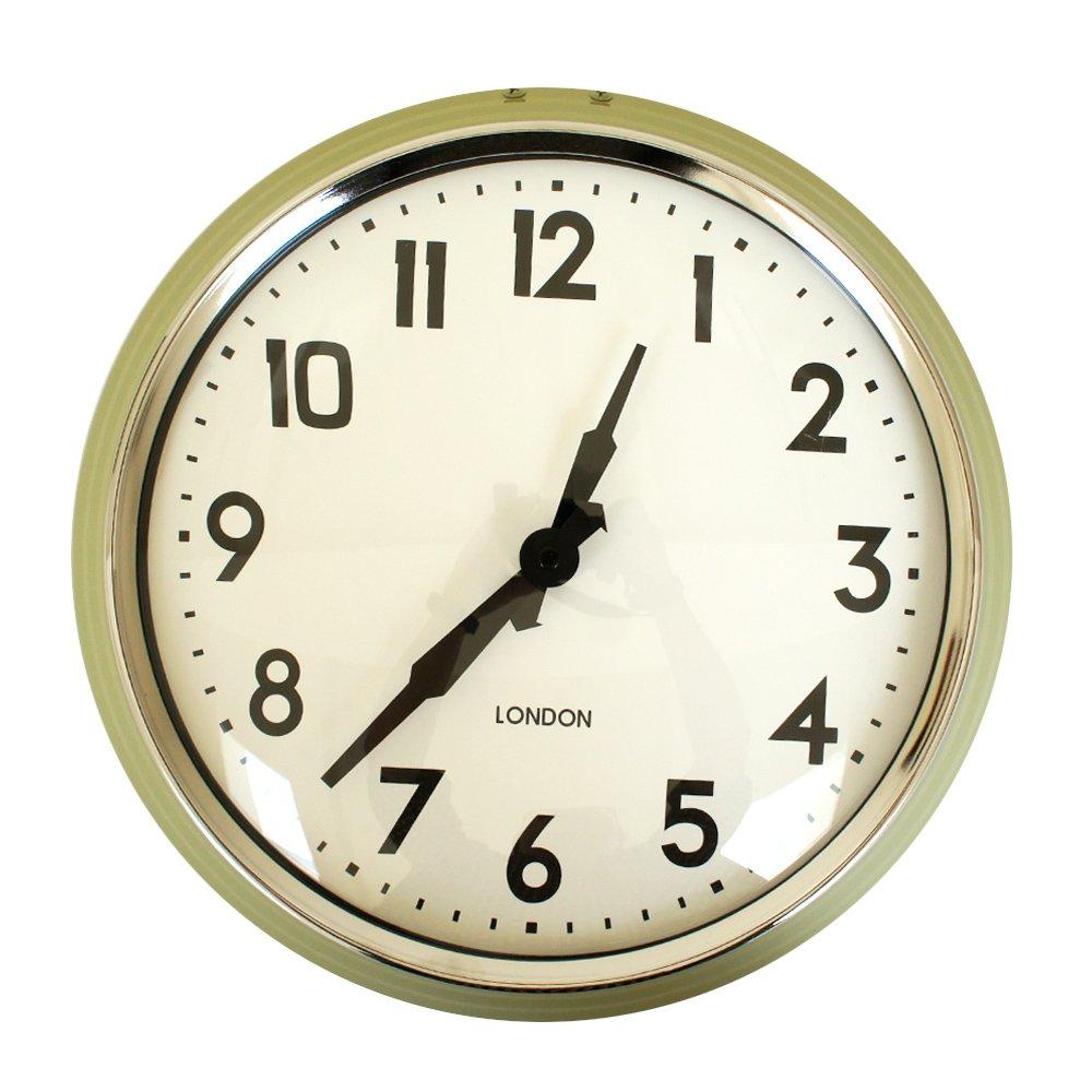 Ustide壁掛け時計 ウェールクロック 掛時計 シンプル 円型 静音 片側 見やすい グリーン B07117KZVVグリーン