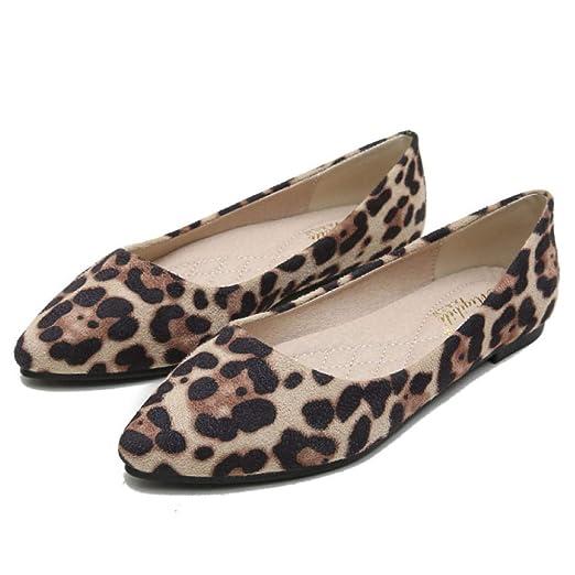 LITHAPP Bombas Planas Para Mujer Damas Mocasines Con Estampado De Leopardo Zapatos Casuales Zapatos Perezosos: Amazon.es: Ropa y accesorios