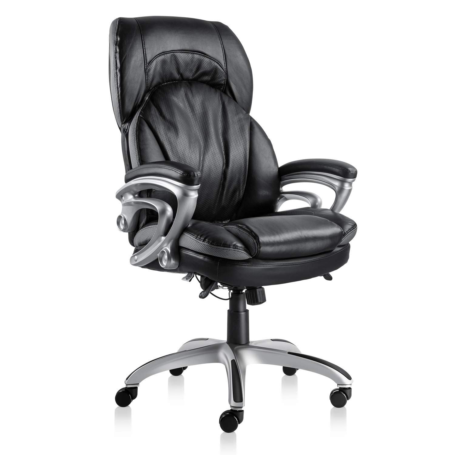 NKV High Back Executive Office Chair Ergonomic Home Office Chair Managerial Bonded Leather Chair Thick Cushion Support (Black)