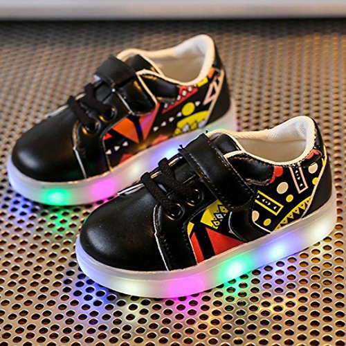 Price comparison product image Tenworld Baby LED Shoes Toddler/Little Kid Light Up Luminous Flashing Sneakers (Insole: 5.1 Inches, Black)