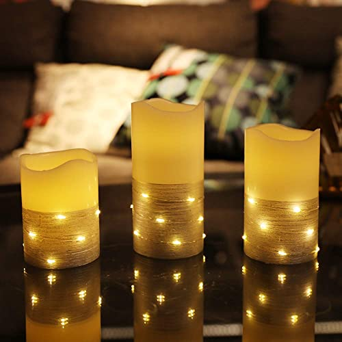 Flickering LED Candle Set with Daily Timer,BeMoment Flameless Candles,Embedded String Lights Stay Lit,Silver Stripes Decorative,Real Wax,Battery Powered,Set of 3 H 4 5 6 x D3