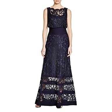 Tadashi Shoji Womens Blouson Embroidered Gown With Tuck Jersey Inset