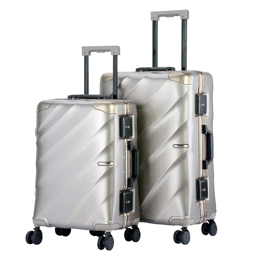 トロリーケース - サイレントユニバーサルホイール - 盗難防止 - ABS素材スーツケース - ウェアラブル防水および耐震性スーツケース,Metallic,20in B07MXF1YW3 Metallic 20in