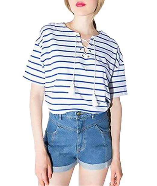 Camisetas Mujer Verano Manga Corta Cuello Redondo Rayas Cordones Tops Elegantes Moda Anchas Casual Basicas T Shirt Blusas Dama Ropa: Amazon.es: Ropa y ...