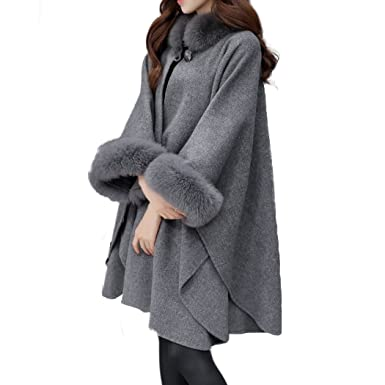 HANMAX Damen Winter Kunstpelz Kragen Strickjacke Mantel