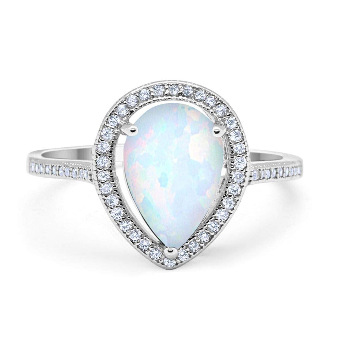 Blue Apple Co. Halo Teardrop Pear Simulated Morganite Bridal Ring Rose Tone Plated 925 Sterling Silver Choose Color