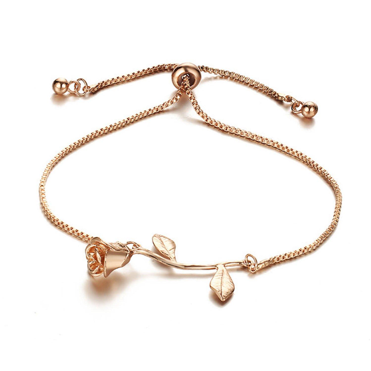 Sawick Fashion Rose Flower Charm Bracelet For Women Girl Bracelet