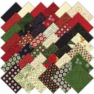 Moda Christmas Countdown Charm Pack, Set of 42 5-inch (12.7cm) Precut Cotton Fabric Squares