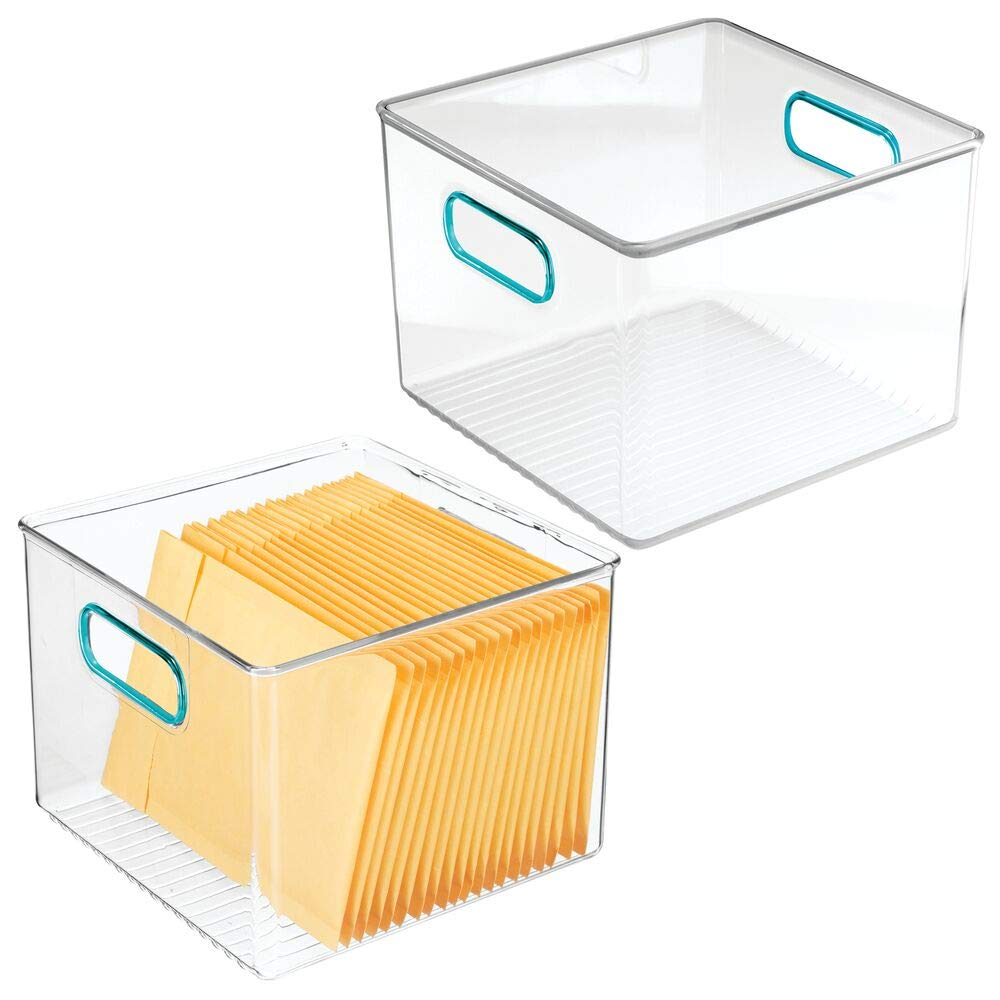 mDesign Plastic Home, Office Storage Organizer Container with Handles for Cabinets, Drawers, Desks, Workspace - BPA Free - for Pens, Pencils, Highlighters, Notebooks - 8'' Wide, 2 Pack - Clear/Blue