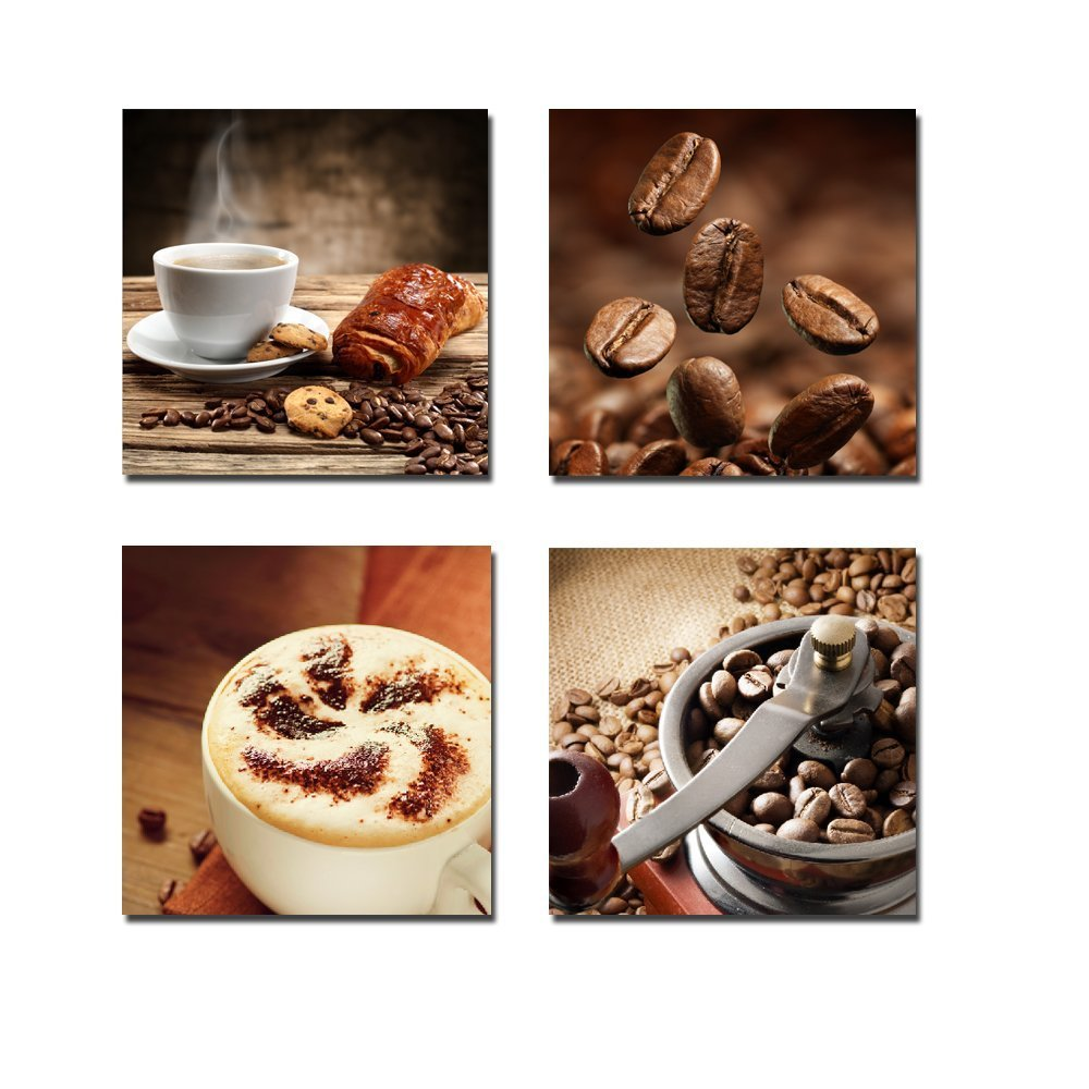 Wieco Art Warm Coffee Giclee Canvas Prints Wall Art Brown Bean Cup Pictures Paintings for Dining Room Kitchen Bar Home Decorations 4 Piece Large Modern Stretched and Framed Contemporary Food Artwork