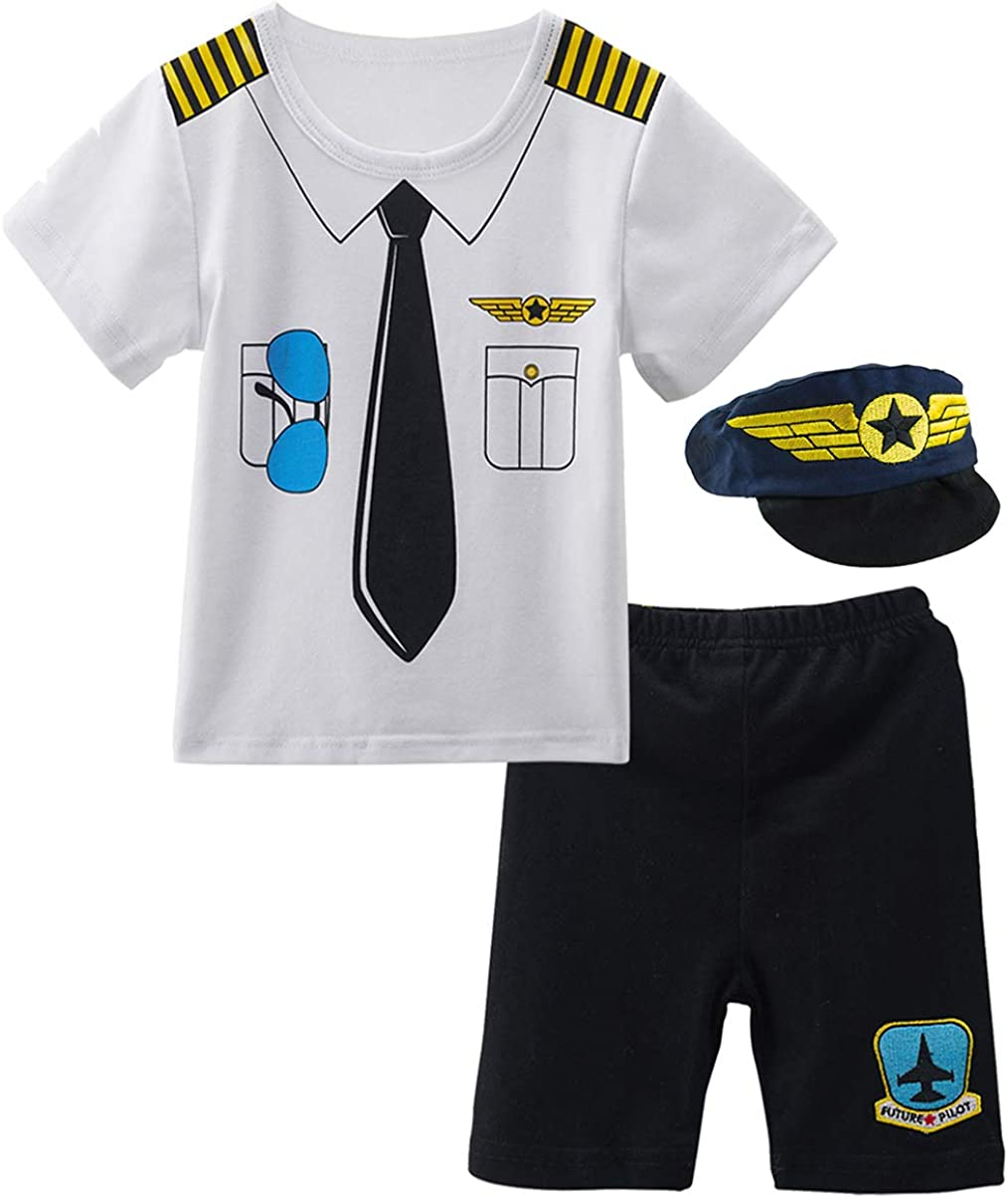 COSLAND Baby Boys Pilot Costume Short Sleeve Outfits with Hat