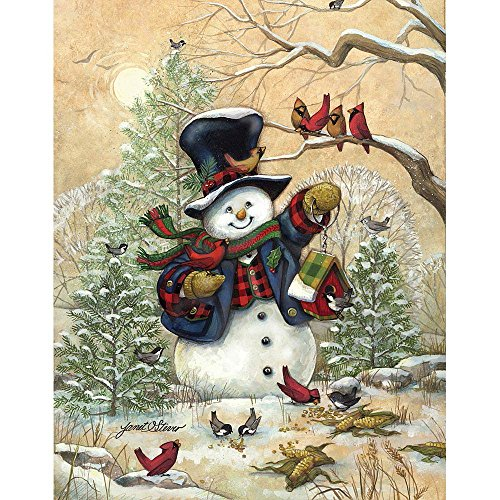Bits and Pieces - 300 Large Piece Jigsaw Puzzle for Adults - Winter Friends - Snowman Puzzle - by Artist Janet Stever - 300 pc Jigsaw