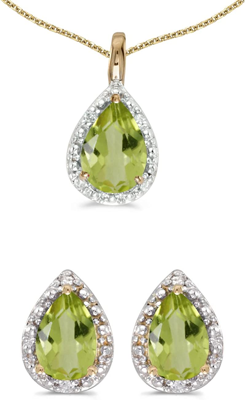 10k Yellow Gold Pear Citrine And Diamond Earrings and Pendant Set