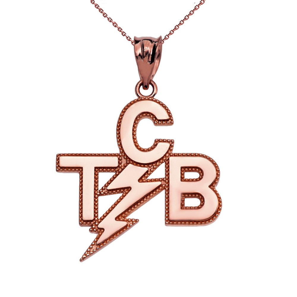 Taking Care of Business In A Flash (TCB) 10k Rose Gold Pendant Necklace, 16''