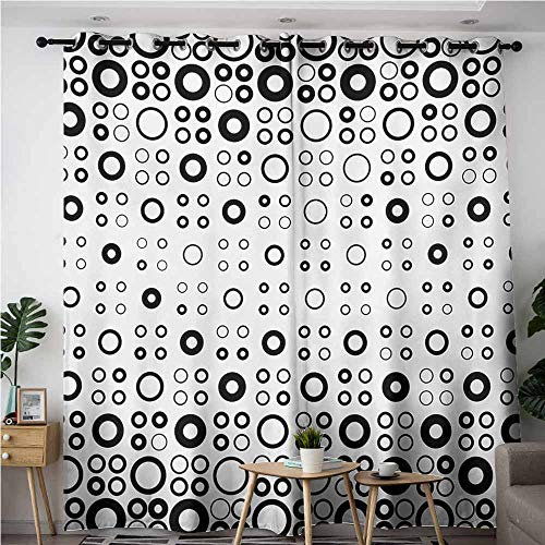 AndyTours Thermal Insulating Blackout Curtains,Geometric Circle,Simple Vortex Disc Shaped Interior Ellipse Chord Lines Artwork Print,Grommet Curtains for Bedroom,W72x108L,Black White]()