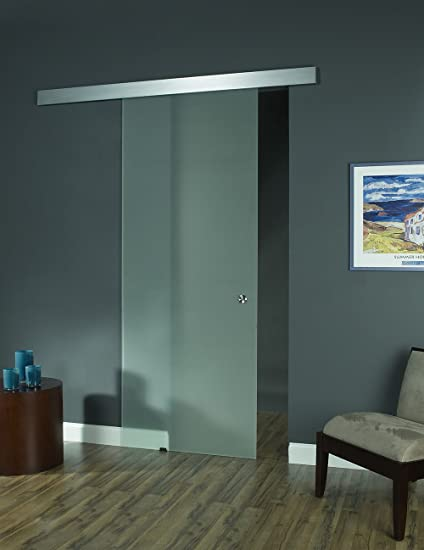 pinecroft 8bdgl3696op opaque interior glass barn door 36 - Glass Barn Doors