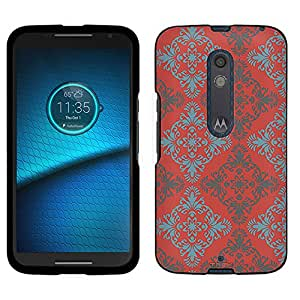 Motorola Droid Maxx 2 Case, Snap On Cover by Trek Victorian Vintage Blue and Grey on TerraCotta Case