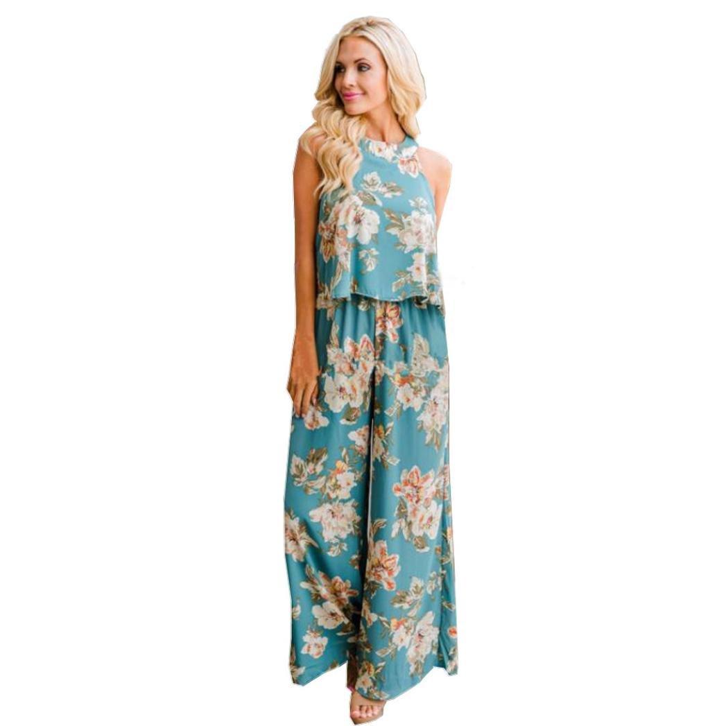 Minisoya Women Summer Boho Floral Vest Tank Top Blouse Loose Pants Wide Leg Trouser Casual Suit Two-Piece Outfit (Green, M)