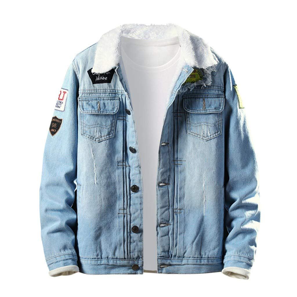 Allywit Classic Vintage Mens Winter Sherpa Lined Denim