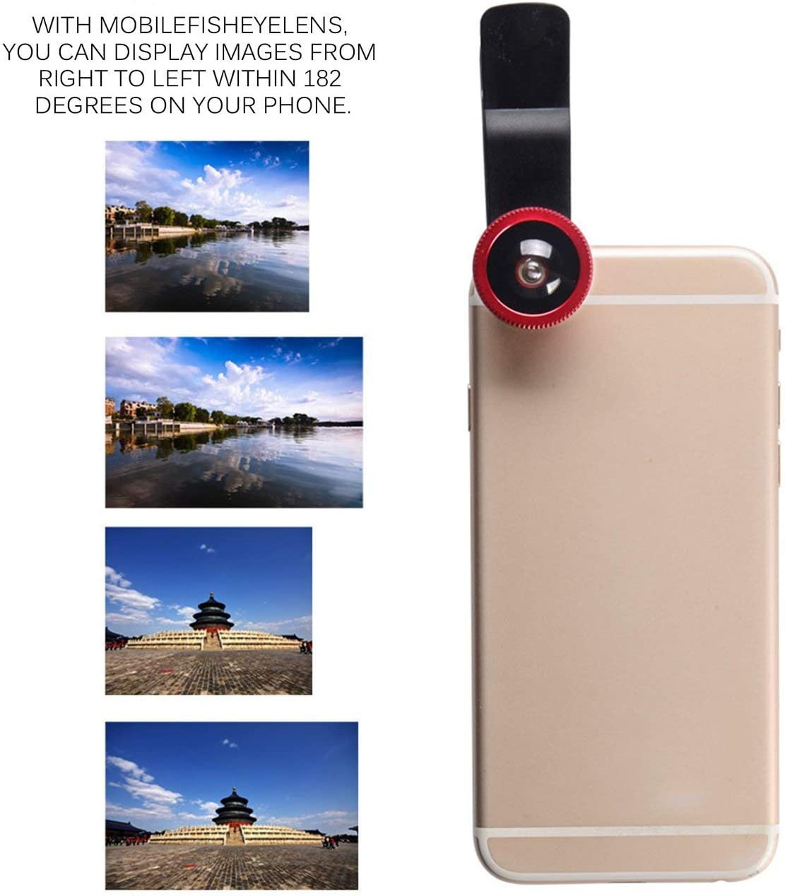 Tree-on-Life Mobile Phone Camera Lens Kit Fish Eye Lens 2 in1 Macro Lens/& Super Wide Angle Lens with Black Universal Phone Clip