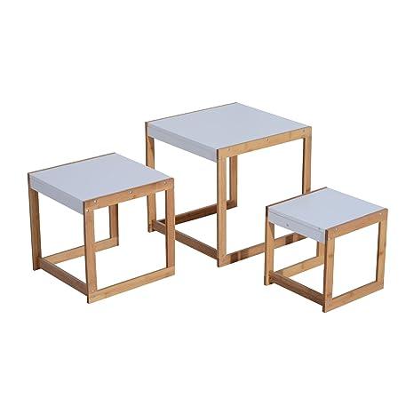 homcom - Set di 3 Tavolini da Salotto Tavolino Soggiorno Design in ...