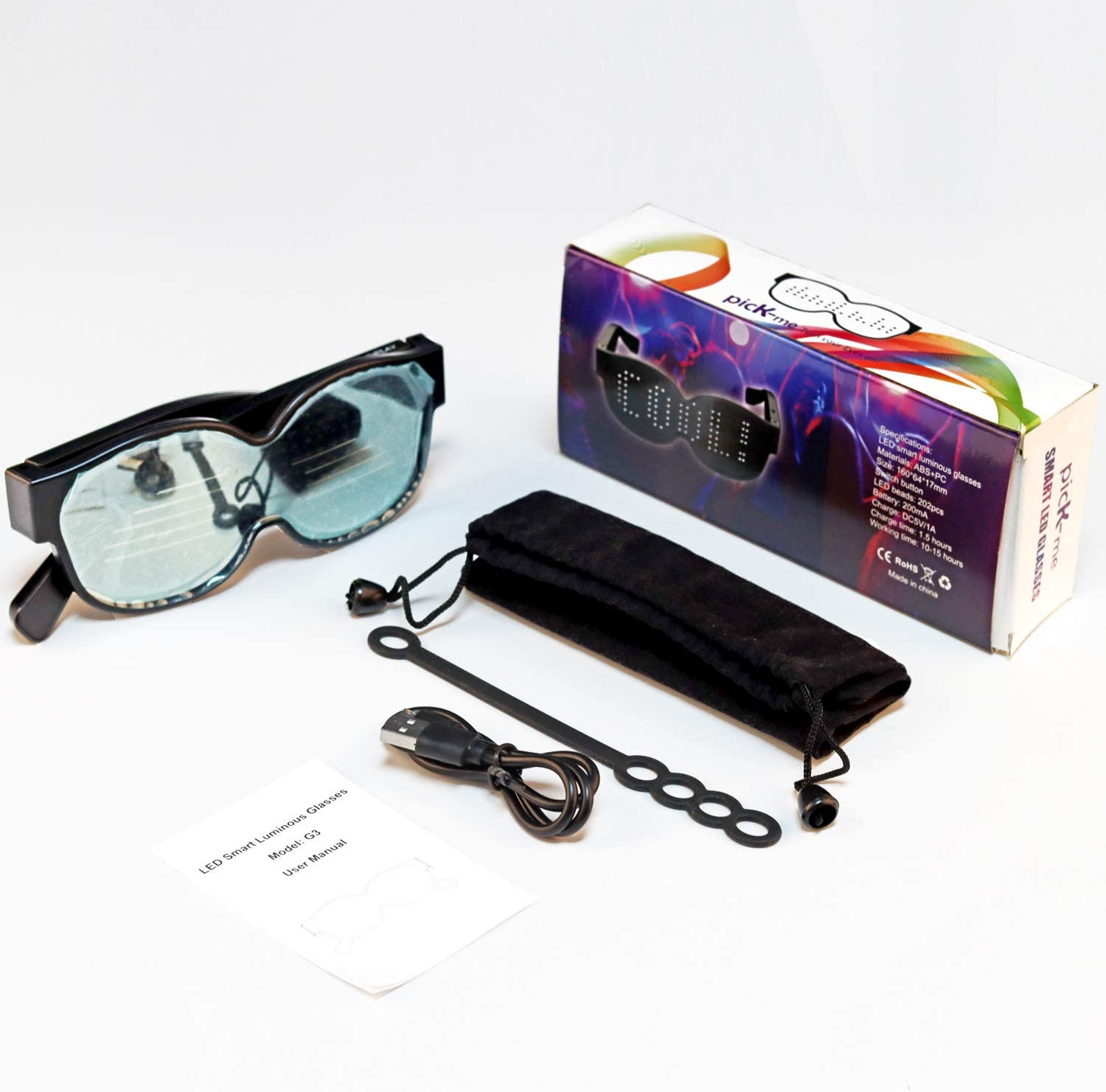 Party USB Rechargeable LED Light Up Eyeglasses Flashing for Raves Work for 10 Hours Concert 8 Dynamic Patterns Switching picK-me LED Party Glasses Nightclub Christmas
