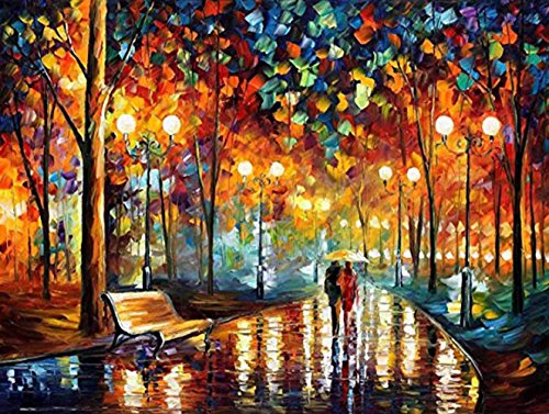 Wooden Framed Paint by Number Kits 12 x 16 inches Canvas DIY Oil Painting for Kids, Students, Adults Beginner with Brushes and Acrylic Paints - Our Romance Under Umbrella (with Framed)