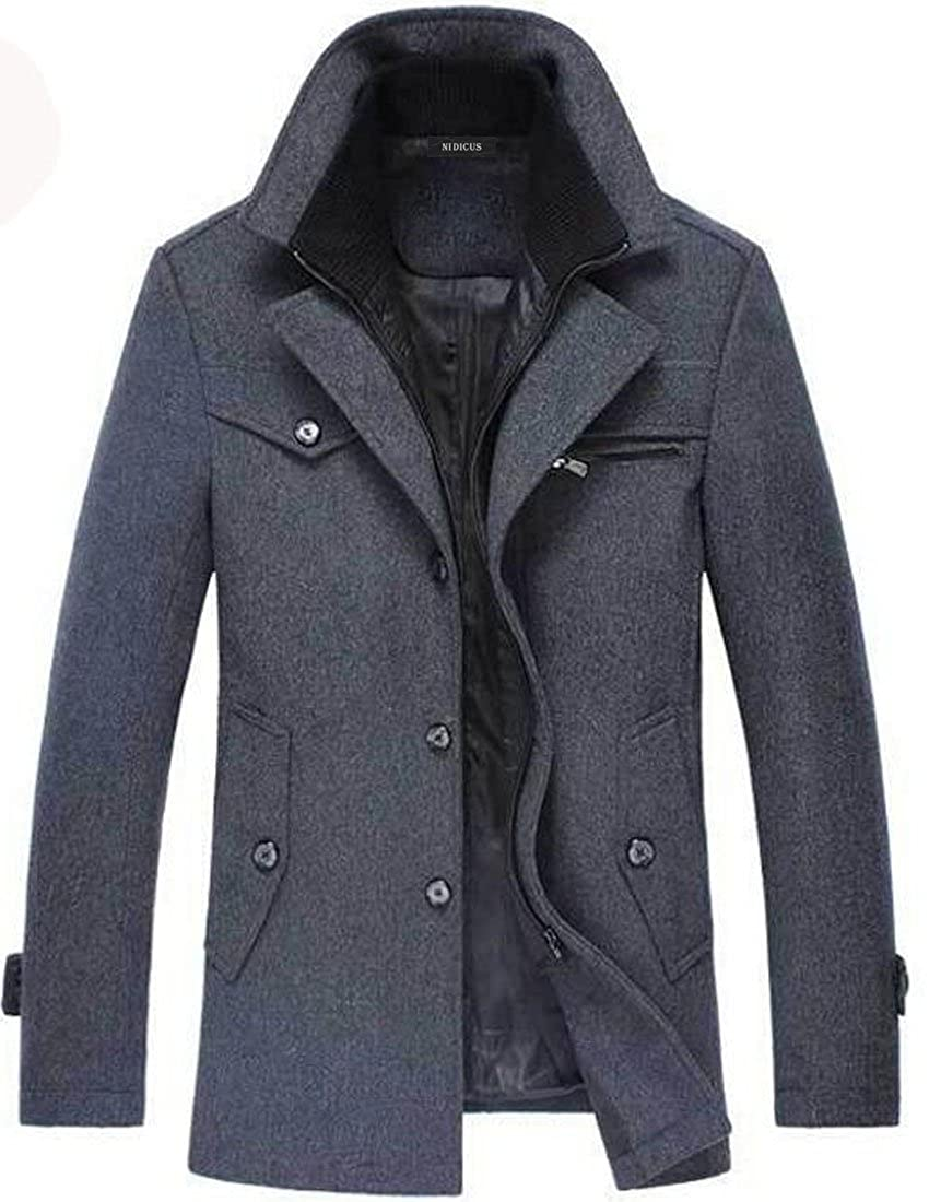 86a4c5f900d Nidicus Men Trench Coat Classic Military Style Wool Single Breasted Pea Coat  at Amazon Men s Clothing store