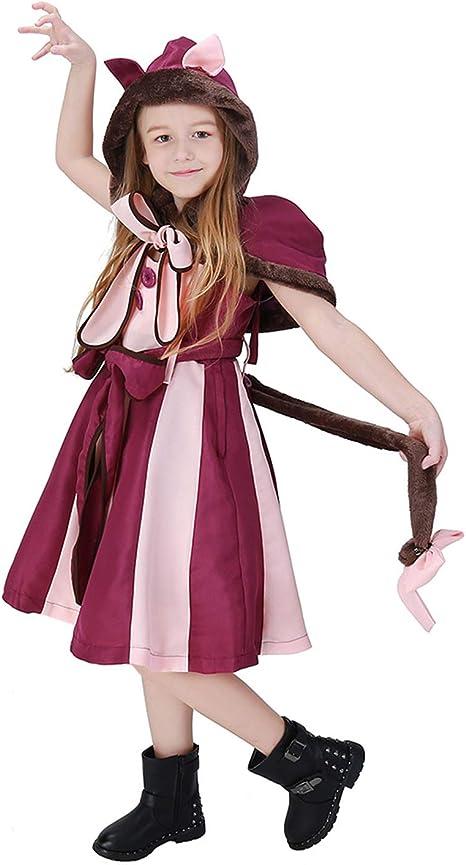 LOLANTA Disfraz de Gato Cheshire para niñas Wonderland Grinning Cat Cosplay Dress (6-7 años): Amazon.es: Productos para mascotas