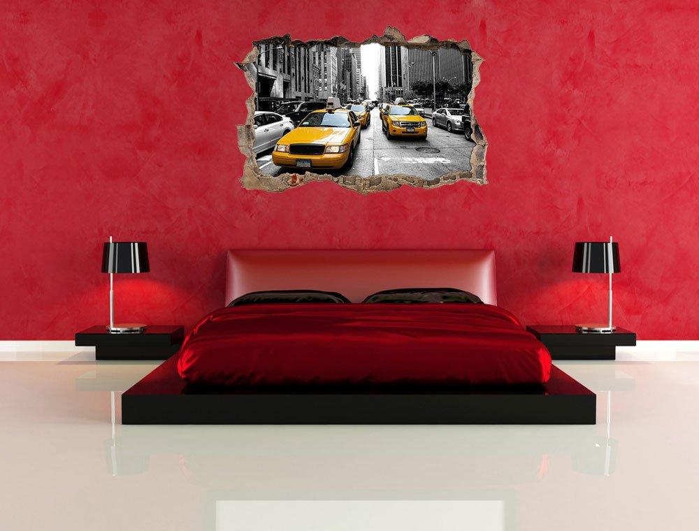 d/écoration Murale Sticker Mural Mur ou Format Vignette de la Porte: 62x42cm Stil.Zeit Mur de New York Taxi Jaune perc/ée en 3D Look Stickers muraux