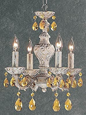 Gabrielle 4-Light Crystal Mini-Chandelier (English Bronze - Prisms Rose)