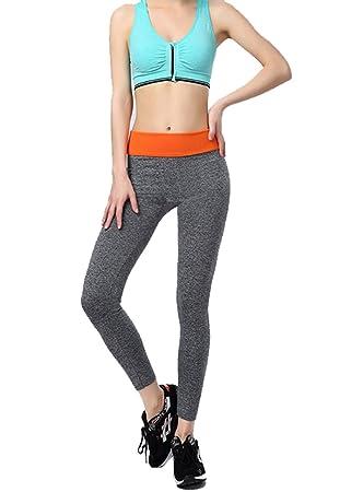 Sporthose Gym Hose Yogahose Leggings Elastisch Kompression Schlank Laufen  Fitness Damen Orange M dfba15b36b