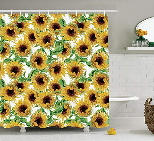 Ambesonne Sunflower Decor Collection, Dried Sunflowers Illustration Wildflowers Branch Herbarium Artistic Design Fine Art, Polyester Fabric Bathroom Shower Curtain, 75 Inches Long,