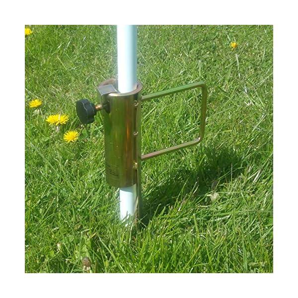 Land-Haus-Shop®, picchetto di supporto per ombrellone o stendibiancheria, da piantare nel terreno, in lamiera di acciaio… 3 spesavip