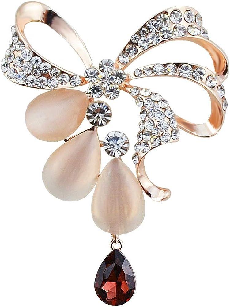 TREESTAR Dames Broche Pins Plaqu/é Or Strass Cristal Arc Noeud Broche Pendentif Artisanat Bijoux Cadeau Banquet F/ête De Mariage 4.4x6CM
