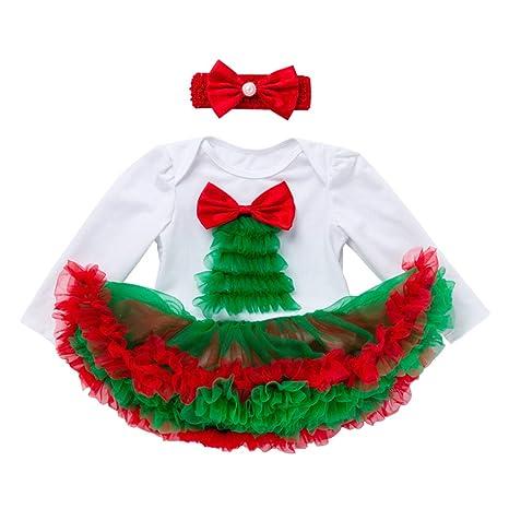 Bebé Niñas Trajes de Navidad Mameluco Tutú con Venda Pijama de Algodón Pelele Corbata de moño
