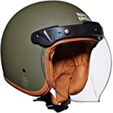 Royal Enfield Battle Green Open Face with Visor Helmet Size (L)60 CM (RRGHEH000005)