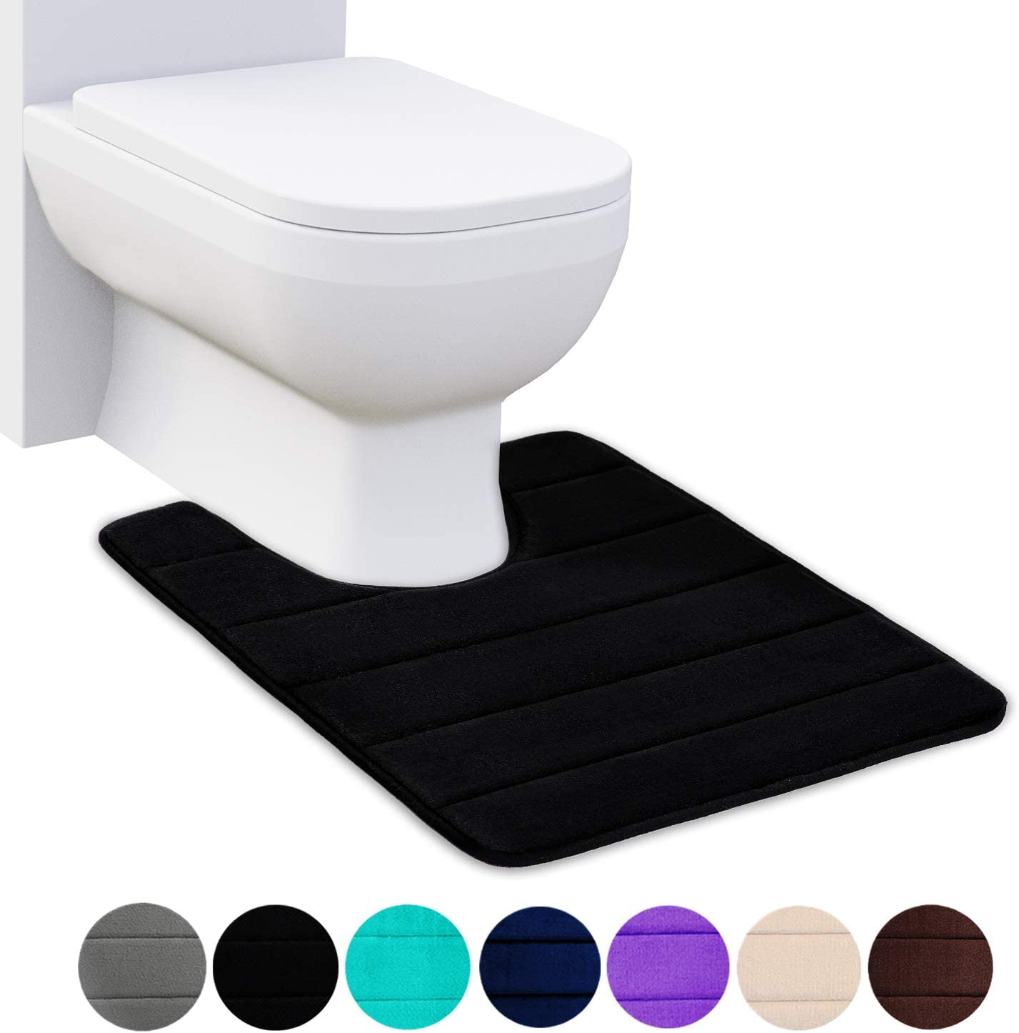 "Buganda Memory Foam Contour Toilet Bath Rug, U-Shaped Non Slip Absorbent Thick Soft Washable Bathroom Rugs, Floor Carpet Bath Mat for Bathroom Sink Toilet (20"" x 24"", Black)"