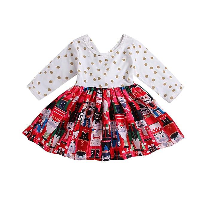 Amazon.com: ZOELNIC Vestido de Navidad para bebés y niñas ...