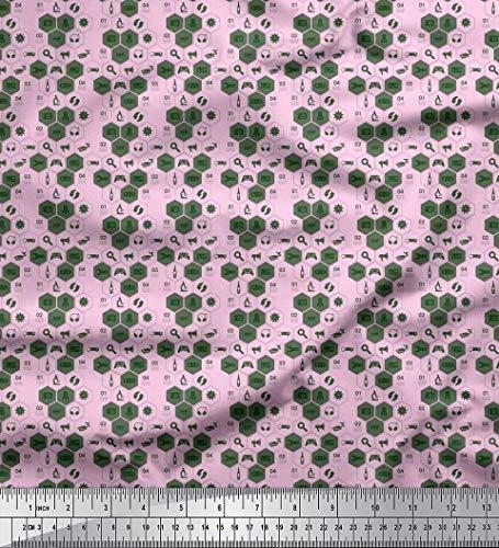 Soimoi Pink Rayon Fabric Camera,Headphone & Megaphone Shirting Printed Craft Fabric by The Yard 56 Inch Wide