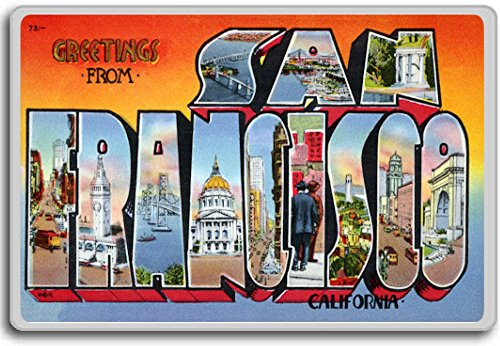 - Greetings From San Francisco, California - Vintage 1940s Postcard fridge magnet