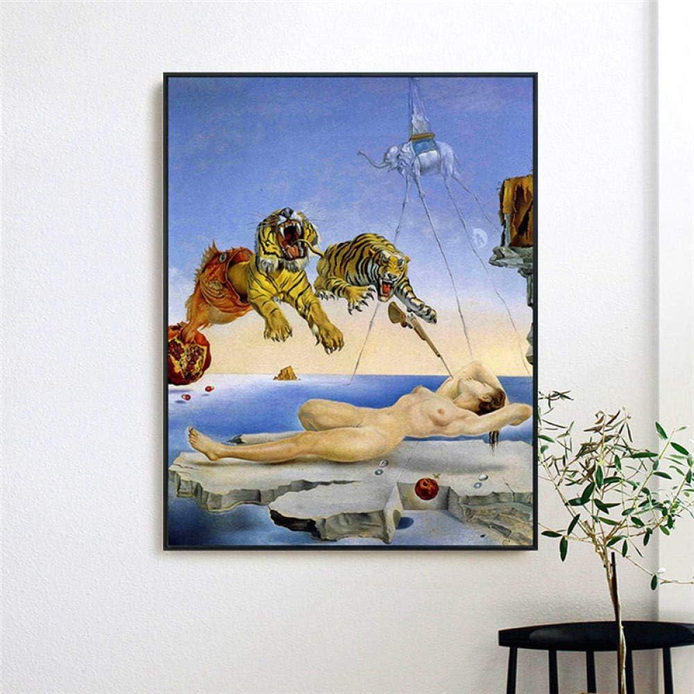 RuYun Salvador Dali impresión en Lienzo Pintura surrealismo Abstracto Pared Arte Cuadros para Sala de Estar decoración para el hogar 60cm x90cm Sin Marco
