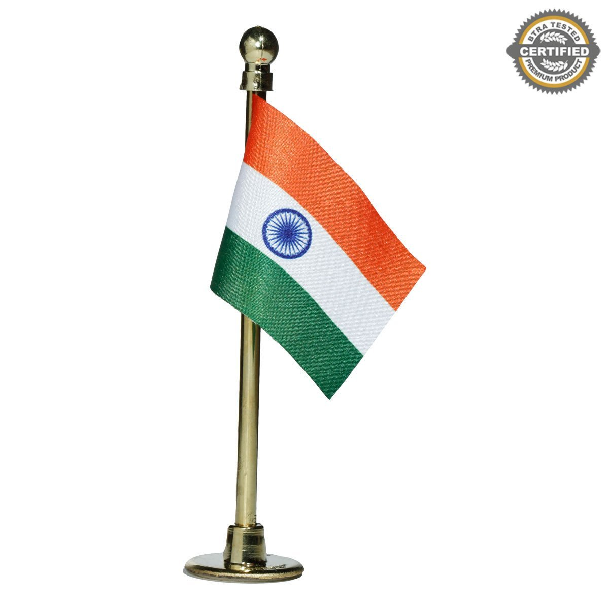 The Flag Shop Indian Miniature Car Dashboard Flag With A Nano Gold-Plated Plastic Base